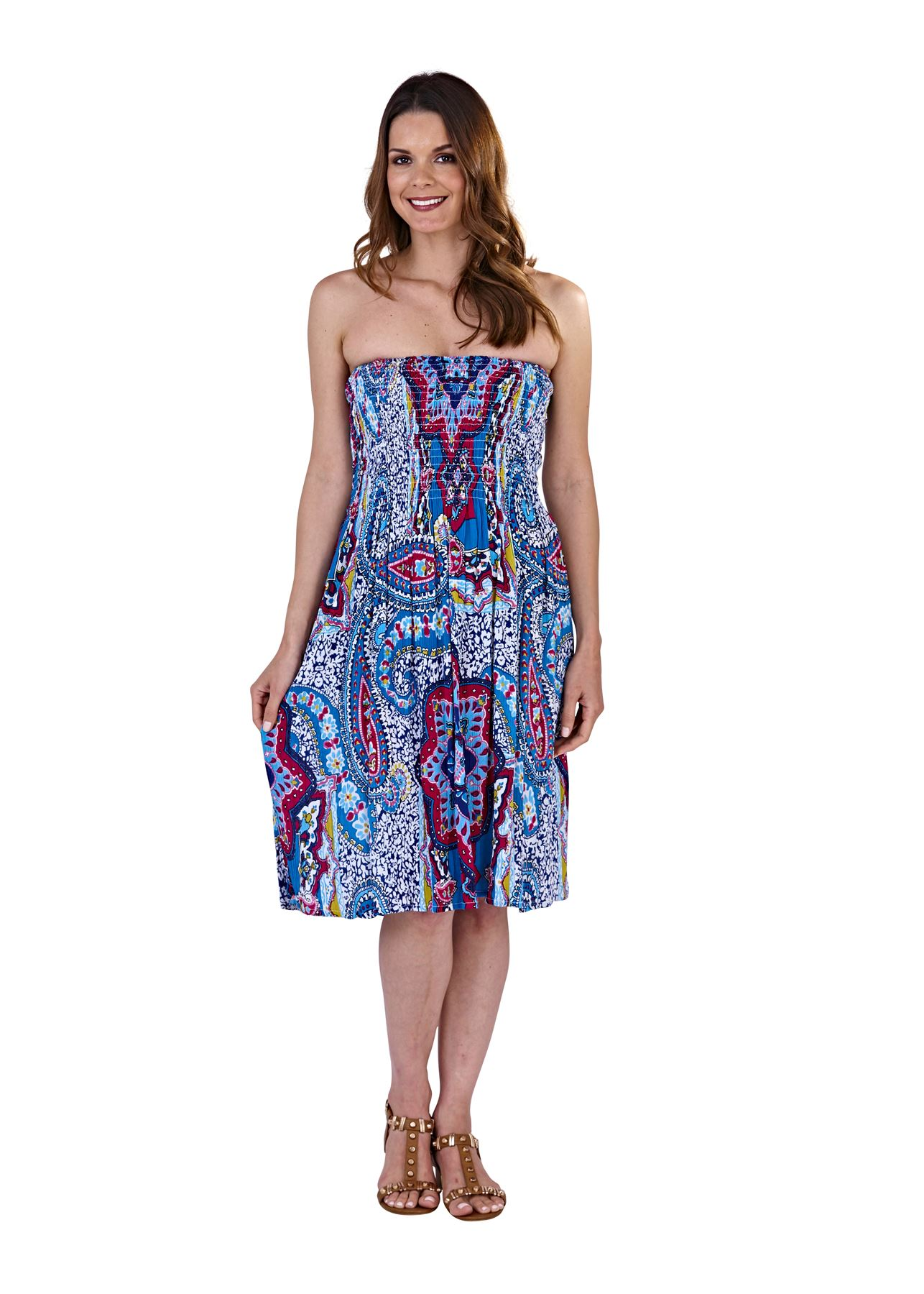 Ladies-Pistachio-Viscose-3-Way-Halter-Bandeau-Skirt-Summer-Beach-Dresses thumbnail 3