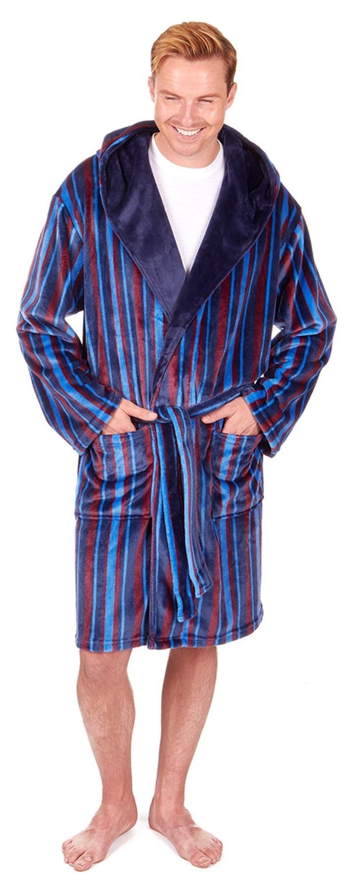 Gents Sleepy Joes 31b475 Soft Coral Fleece Striped Hooded Dressing ... e07b79120