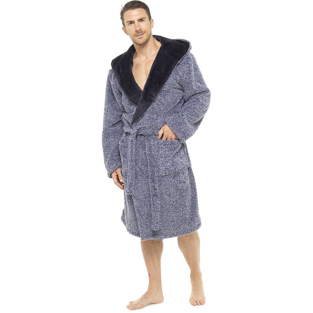 Mens Luxury Shaggy Two Tone Fleece Hooded Dressing Gown Bathrobe M ... 68a72241d