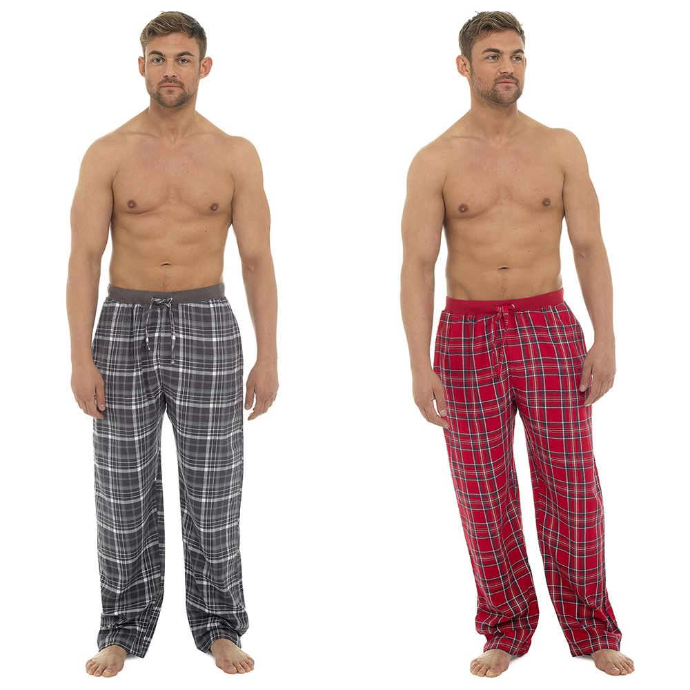 Tom Franks Mens Cotton Wincyette Pyjama Bottoms Lounge Pants HT012A Grey or Red Check