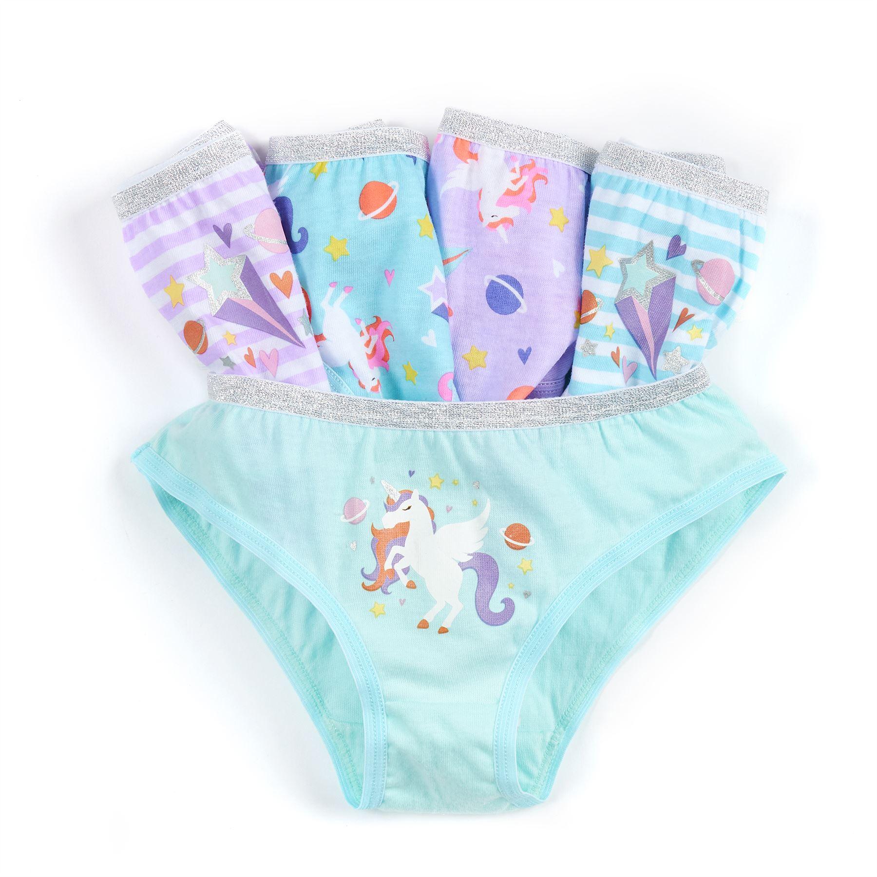 Metzuyan 5 Pairs Girls Briefs Underwear 100/% Cotton Pants Glitter Knickers Underpants Set 2-13 Years