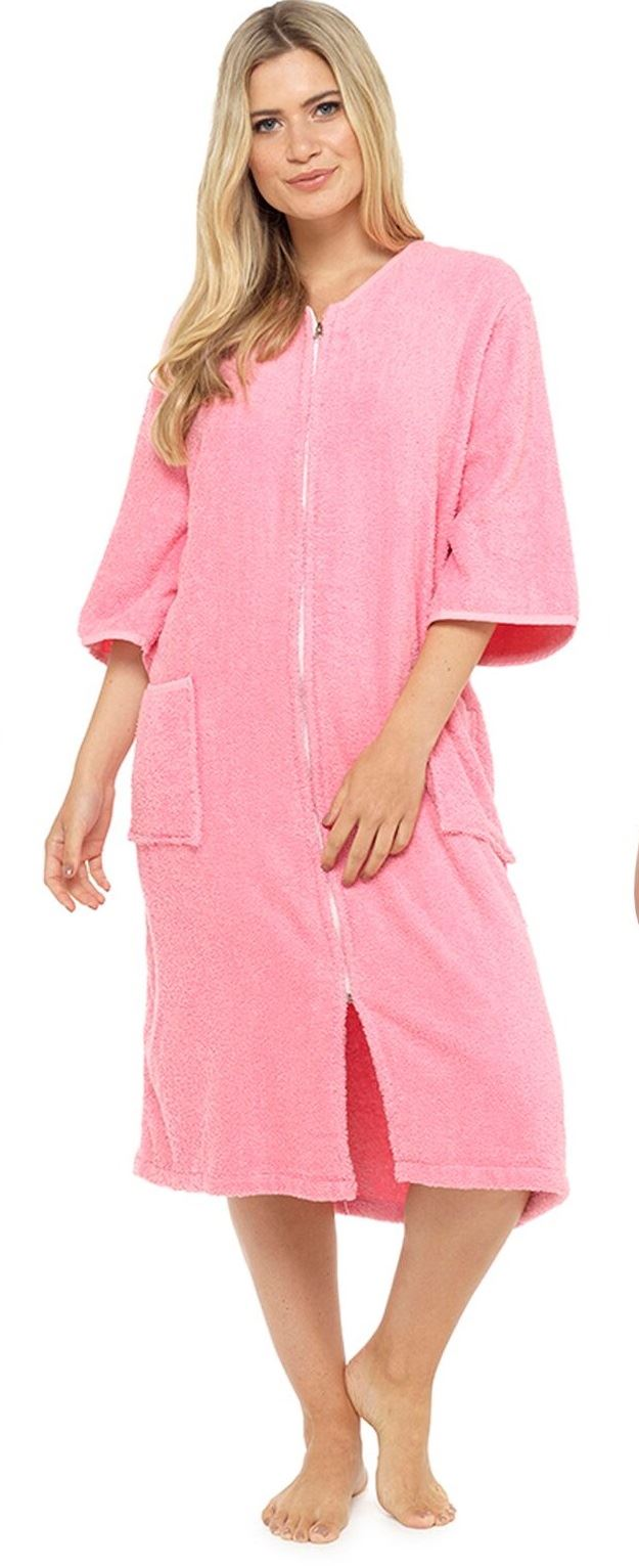 Ladies 100% Pure Cotton Zip Through Towelling Dressing Gown Robe Tom ...