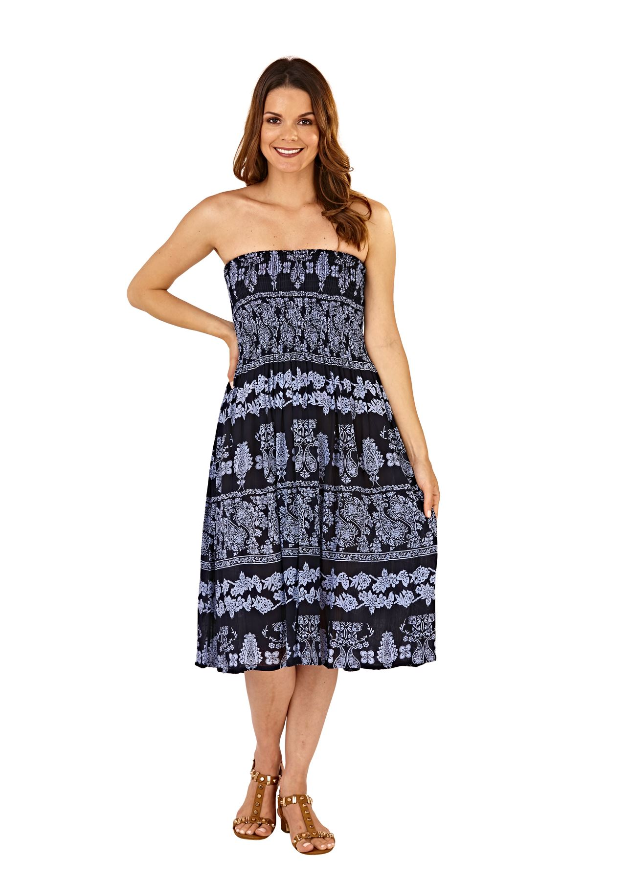 Ladies-Pistachio-Viscose-3-Way-Halter-Bandeau-Skirt-Summer-Beach-Dresses thumbnail 7