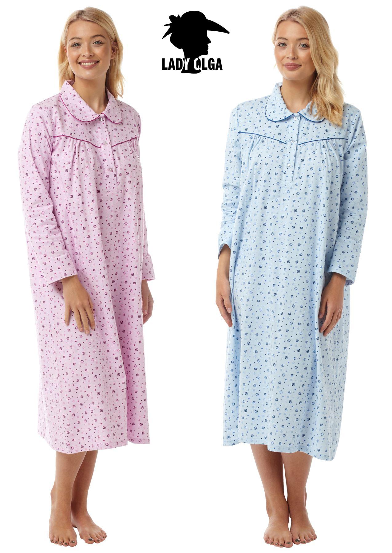 7f66b8a125 Details about Womens Luxury Lady Olga Brushed Cotton Wincyette Long Sleeve Nightie  Nightdress