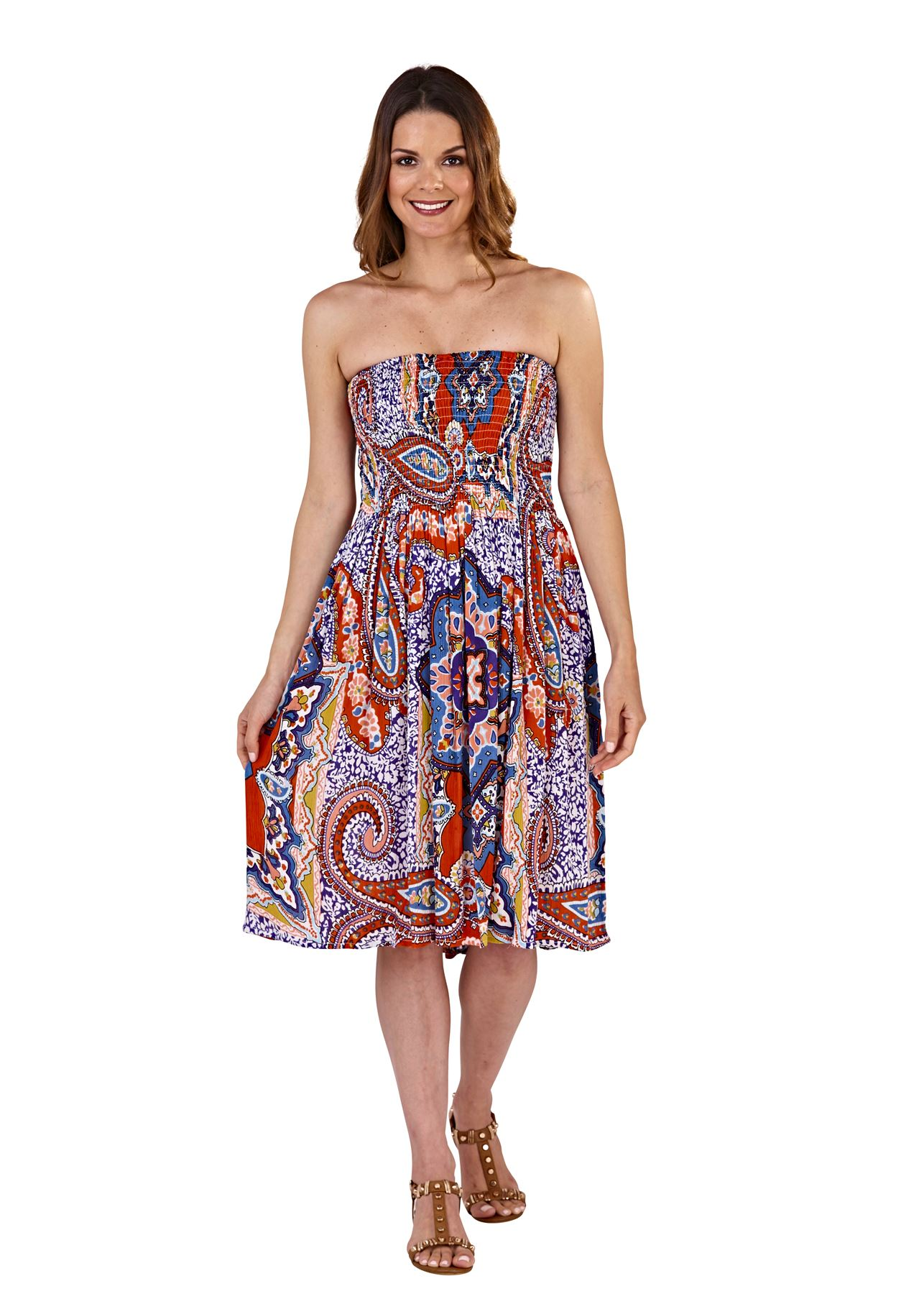 Ladies-Pistachio-Viscose-3-Way-Halter-Bandeau-Skirt-Summer-Beach-Dresses thumbnail 10