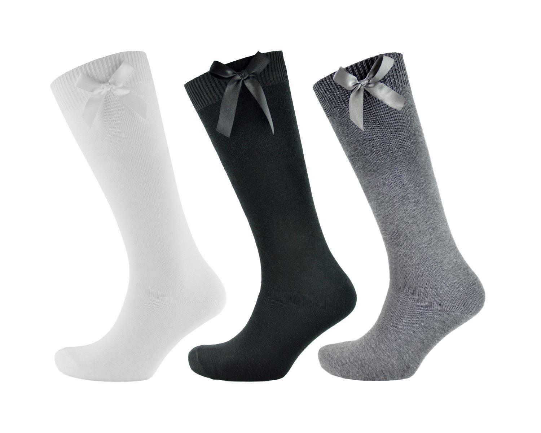 3,6 Pairs Girls White Knee High 3//4 Length Pelerine Cotton Rich School Socks