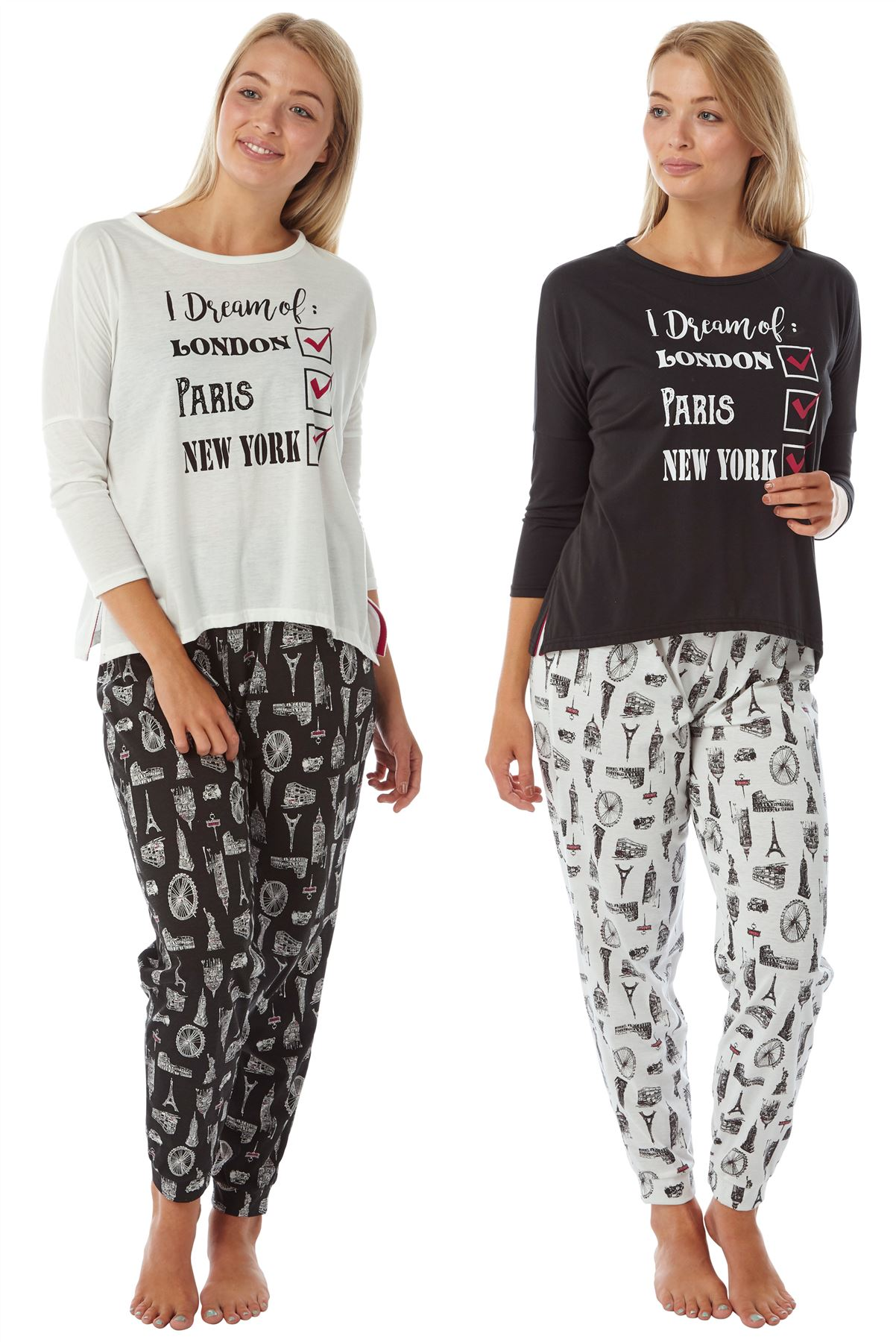 Details about Ladies Womens Bon Voyage Indigo Sky Long Pyjamas City Breaks  Pjs Nightwear 57835a9d2