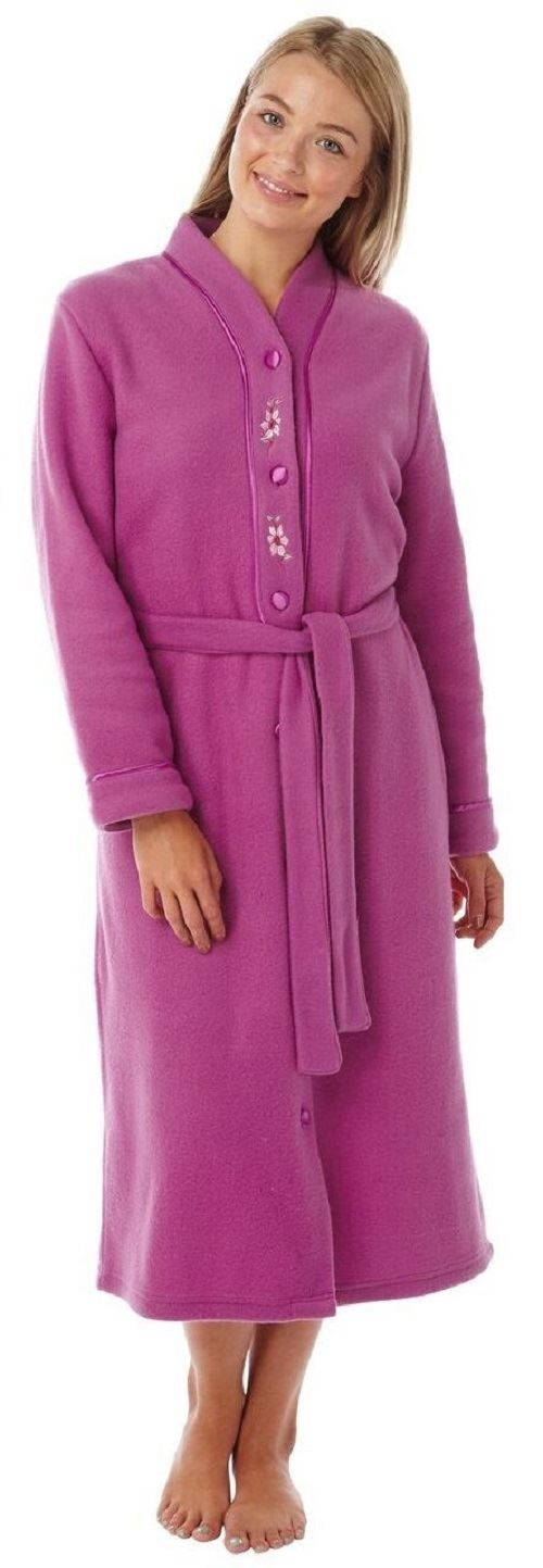 Womens Button Through Fleece Dressing Gown Robe With Belt By Lady ...