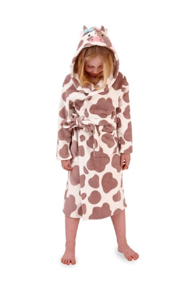 Childrens Soft Coral Fleece Novelty Animal 3D Dressing Gown with Hood