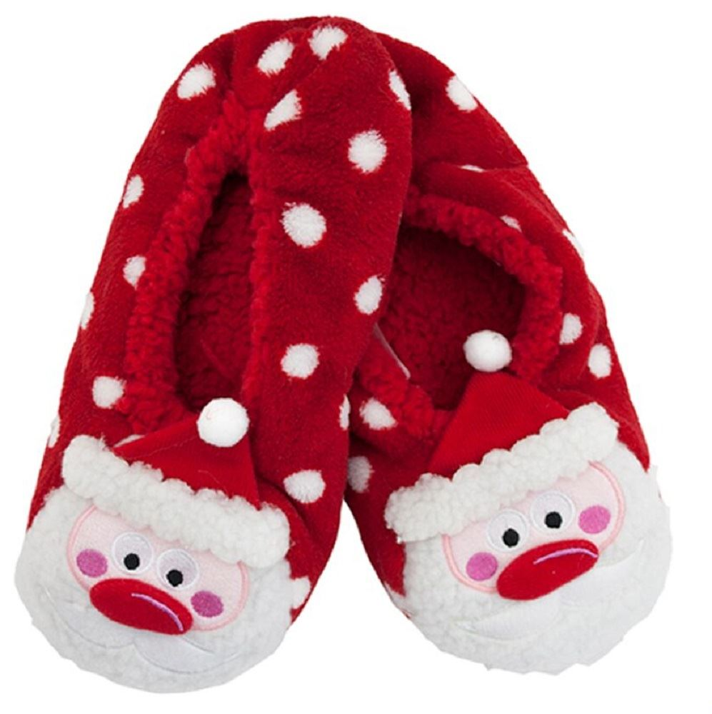 Ladies Sherpa Lined Plush 3D Christmas Slippers With Grips SK457 ...