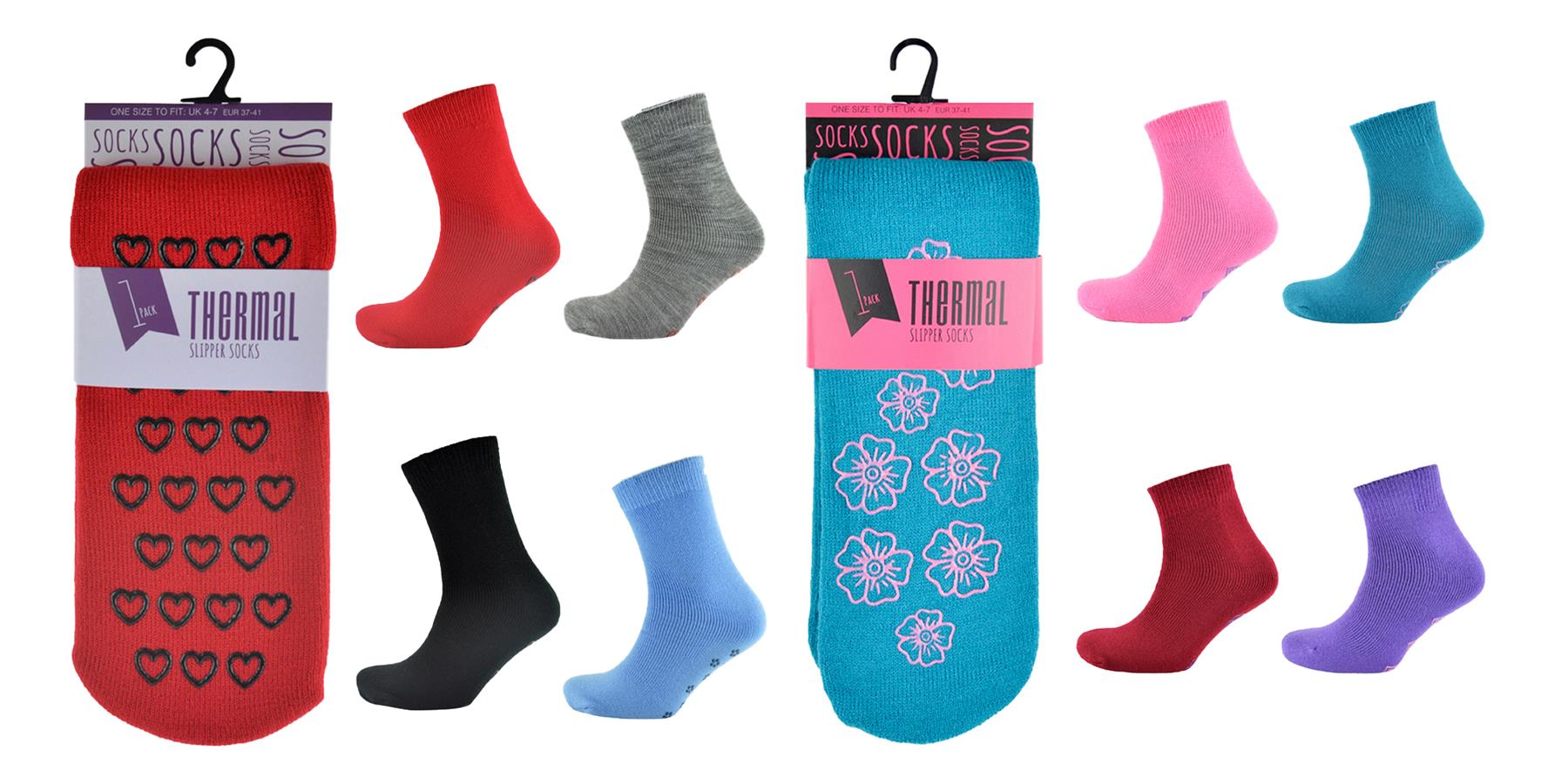 Womens Thermal Lounge Bed Slipper Socks With Rubber Grips on Sole 4 Pairs