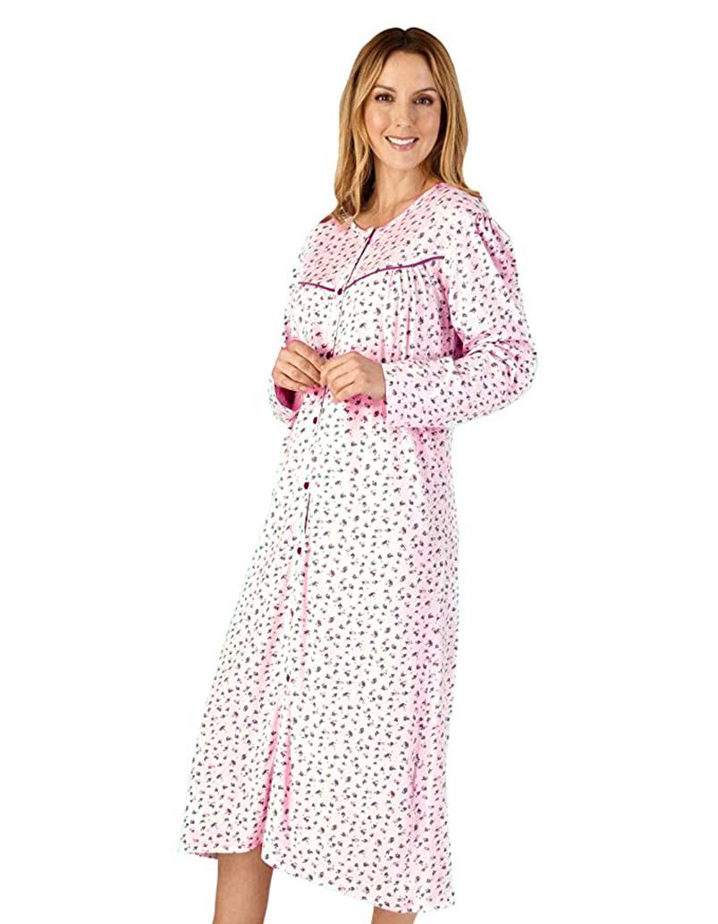 Ladies 100/% Cotton Jersey Long Sleeve Full Button Front Nightdress By Slenderell