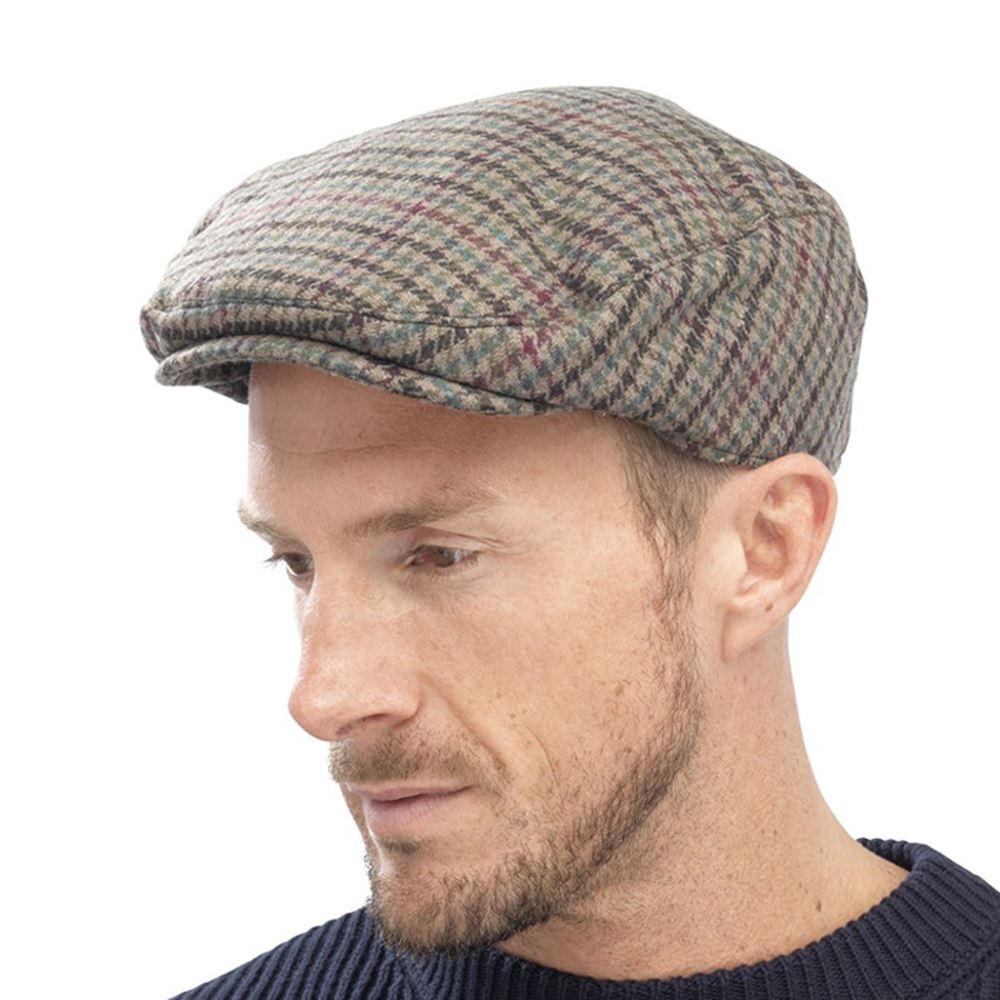 Hommes-Traditionnel-du-pays-Flat-Cap-Herringbone-Tweed-Carreaux-Chapeau-Doublure-Matelassee