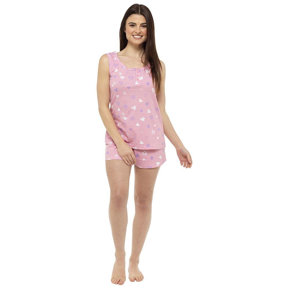 Womens-Follow-That-Dream-Ladies-Cotton-Rich-Shorts-Vest-Pyjama-Set-Heart-Stripe