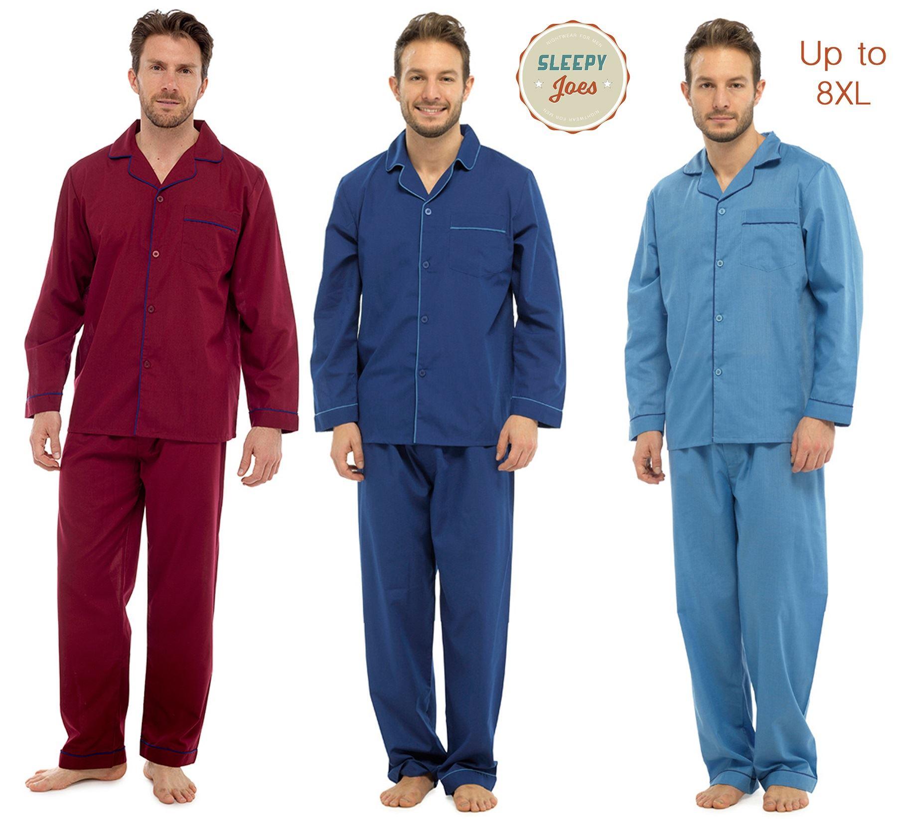 8XL Sleepy Joes Gents Traditional Poly Cotton 1949 Long Pajamas Pjs Nightwear Sizes Small