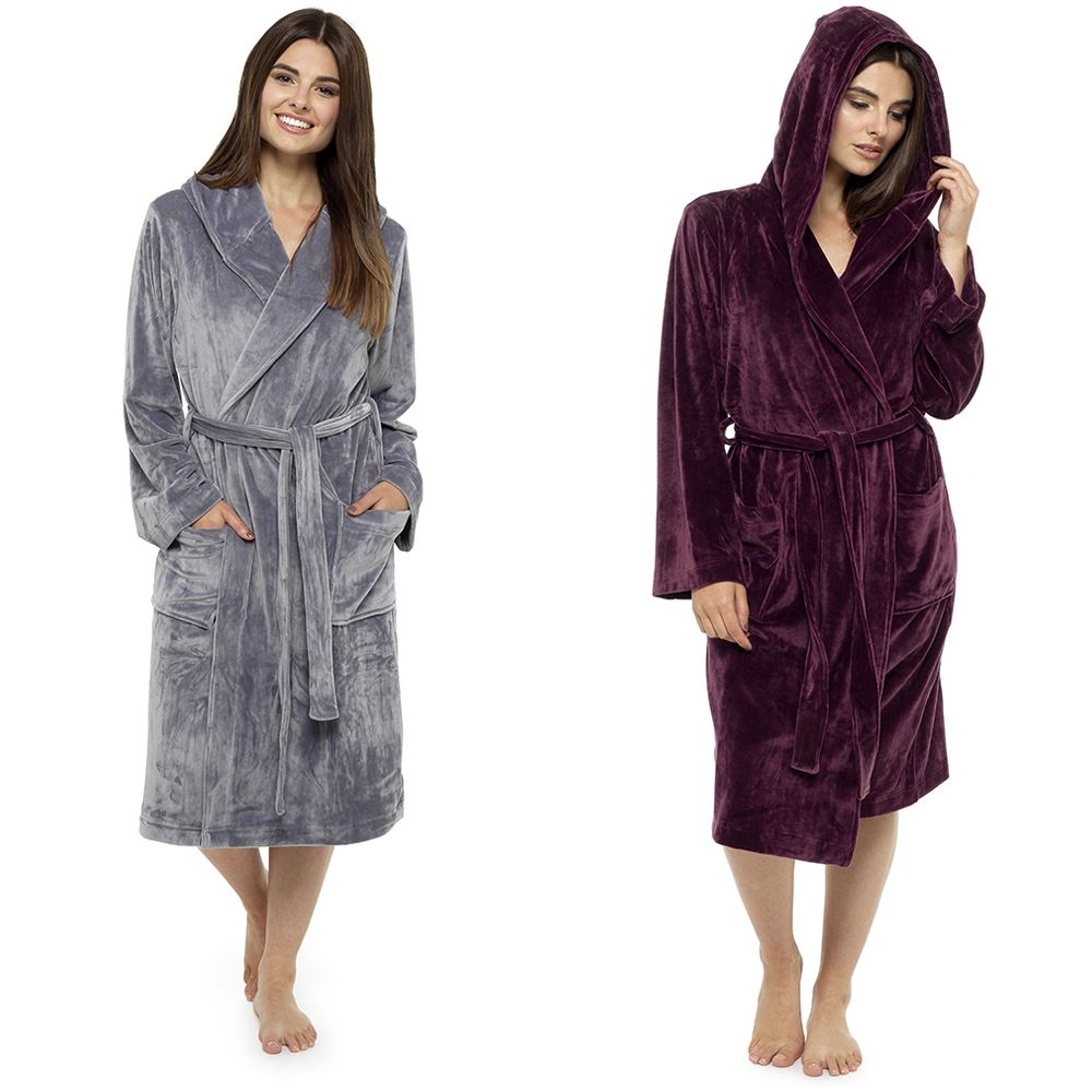 Details about Womens Wolfe   Harte Luxury Moleskin Dressing Gowns with Hood  Grey or Dark Wine 2f91466e7