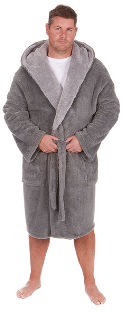 mens gents sherpa fleece hooded heavy soft touch dressing gowns robes. Black Bedroom Furniture Sets. Home Design Ideas