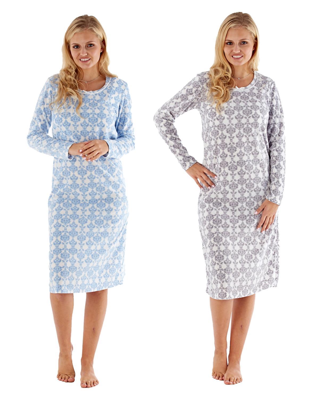 Damen Undercover Winter Fleece Muster Nachthemd Nachtkleid UK Größe 10-24