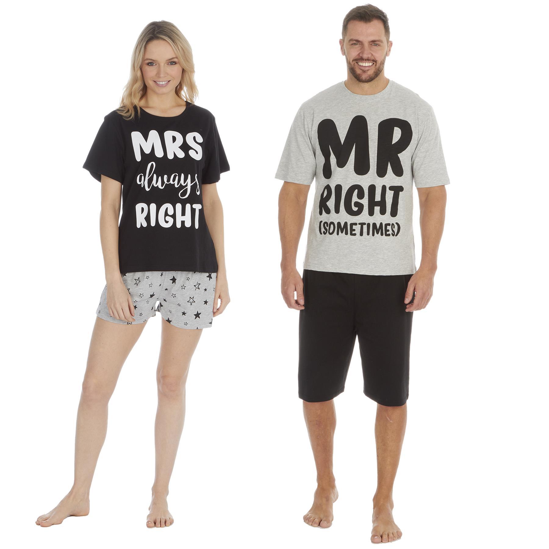 Hommes Femmes Mesdames correspondant Mr /& Mrs Right Fun Slogan Pyjamas Pjs Nightwear