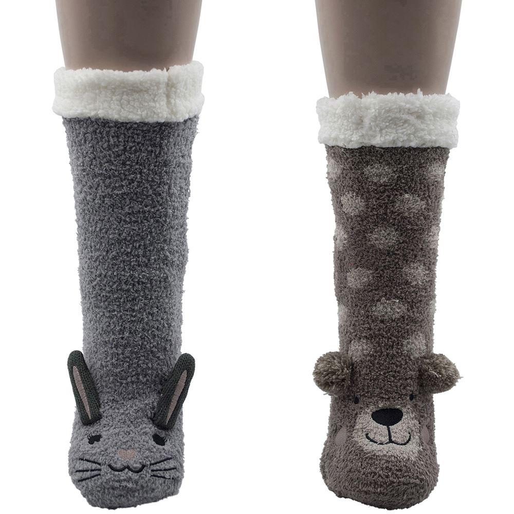 Foxbury Women/'s Pack of 1 Fleece Linded Warm Slipper Socks with Pom Pom SK247