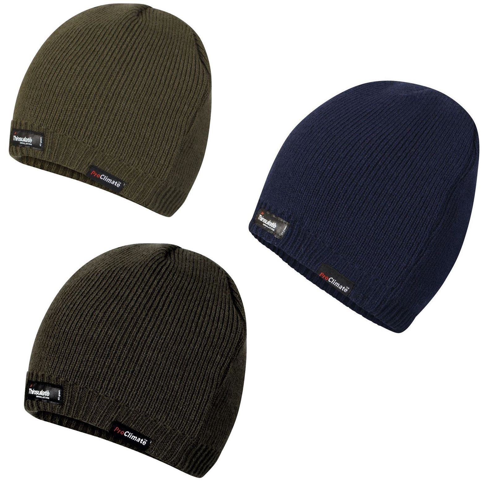 Genuine Thinsulate Lined Mens Warm Knitted Beanie Hat Grey