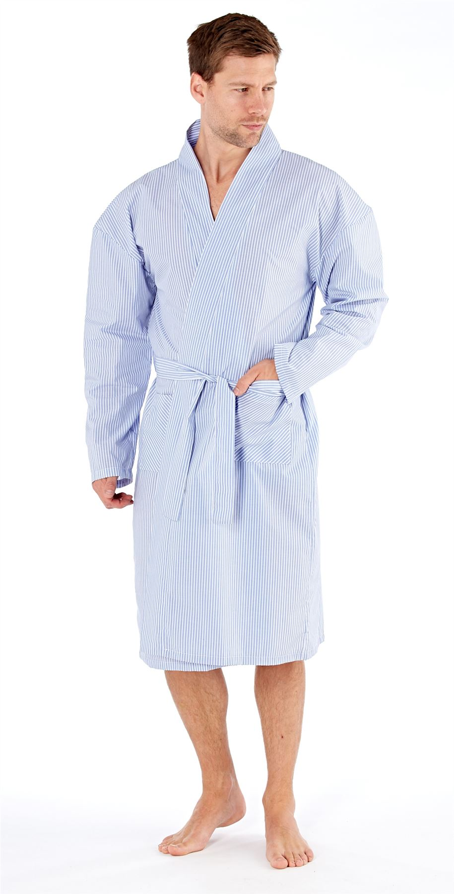 Mens Harvey James Cotton Yarn Dyed Long Sleeve Kimono Dressing Gown ...