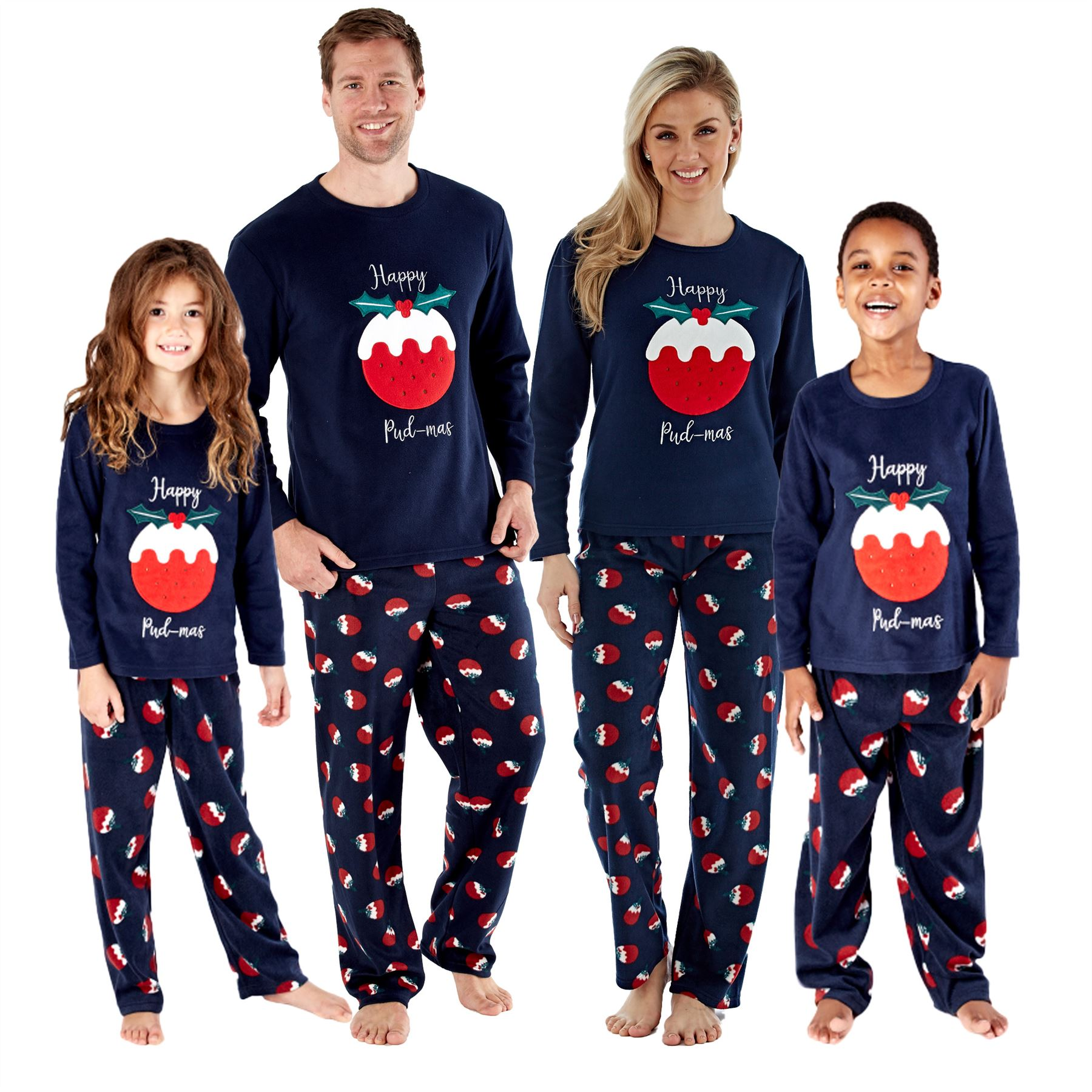 Family Mens Womens Kids Matching Fleece Christmas Pudding Xmas Pyjamas Pjs Ebay