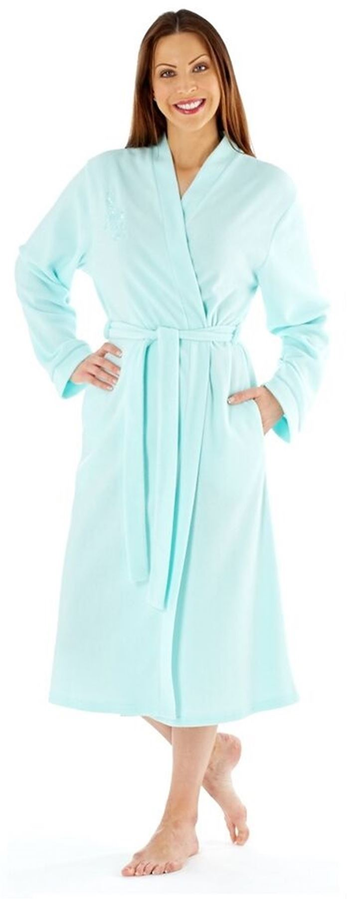 Ladies Embroidered Soft Fleece Dressing Gown Robe Wrap by Lady Olga ...