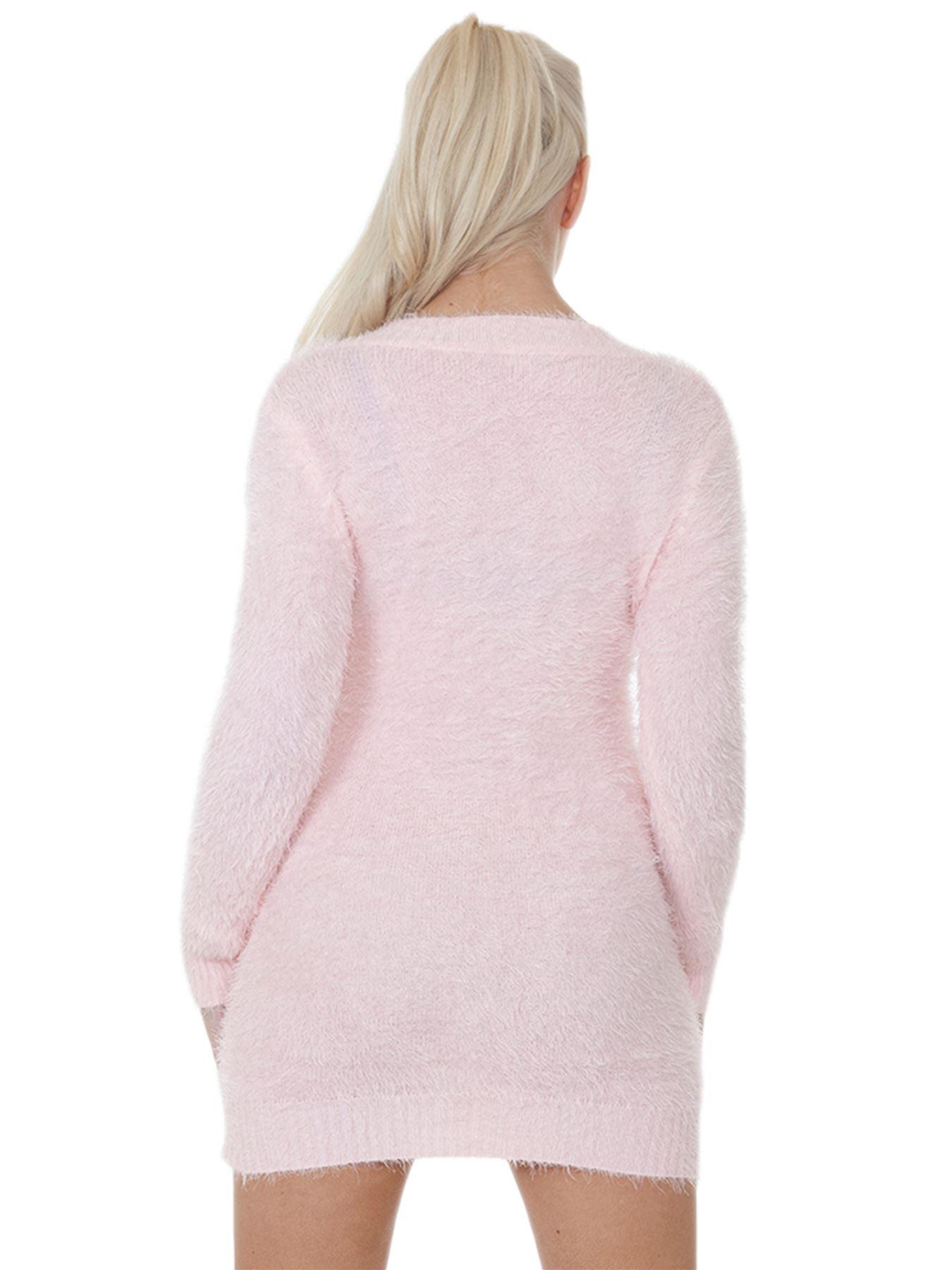 Pull-Femme-Femmes-Tricote-Cardigans-Plain-Tricot-Moelleux-Col-V-Manches-Longues miniature 26