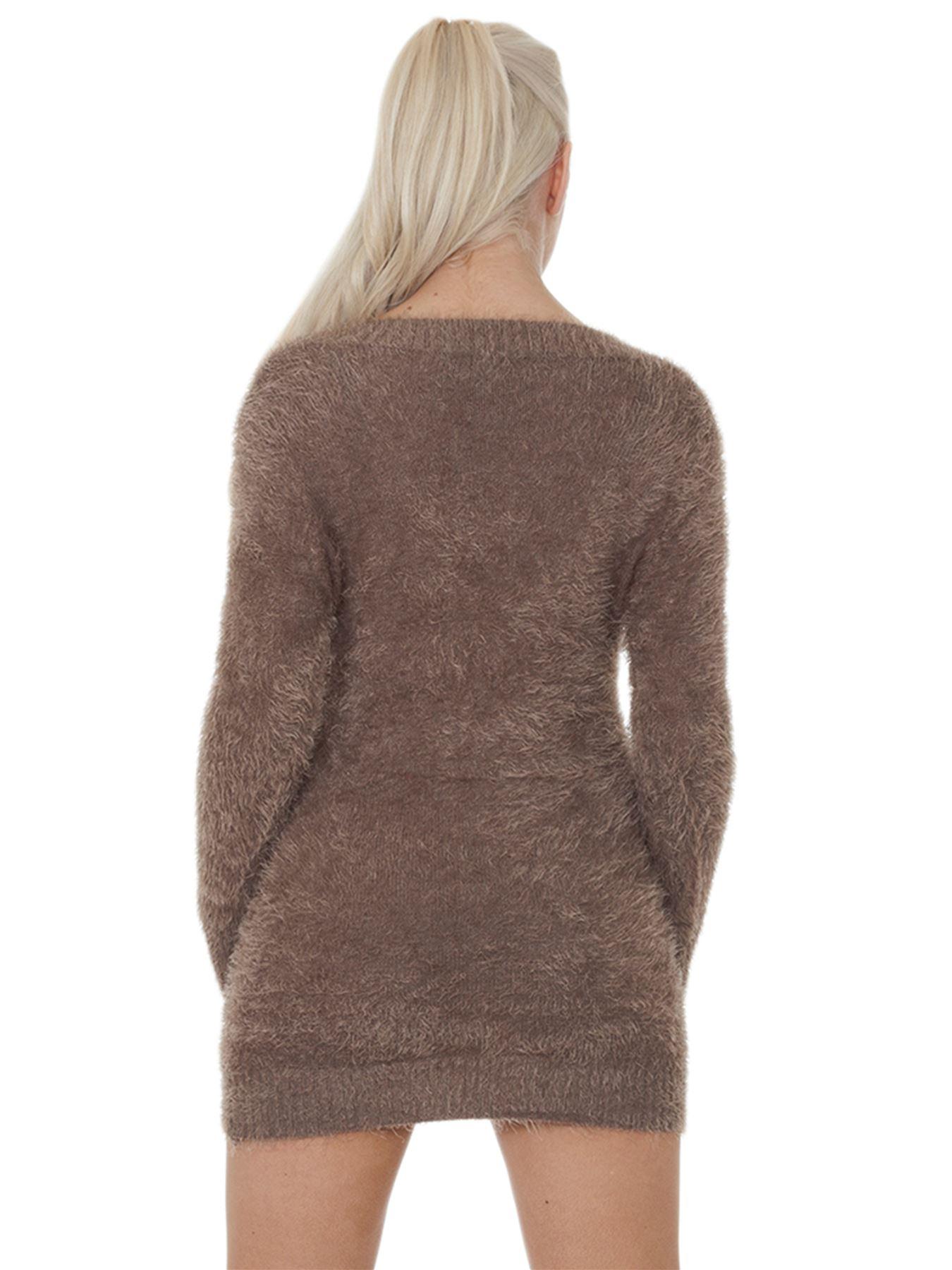 Pull-Femme-Femmes-Tricote-Cardigans-Plain-Tricot-Moelleux-Col-V-Manches-Longues miniature 22