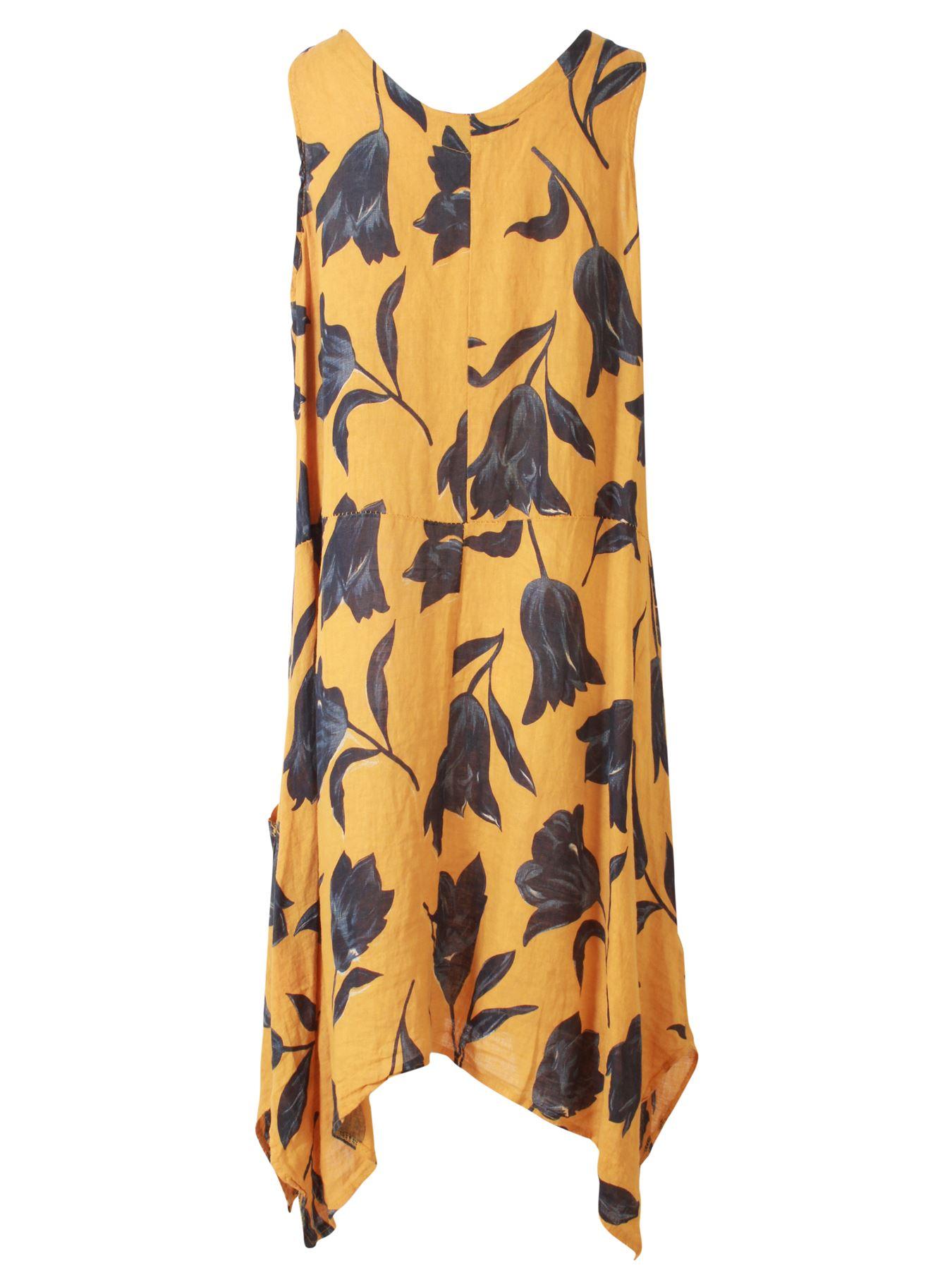 Womens-Tulip-Floral-Print-Italian-Lagenlook-Ladies-Linen-Dress-Two-Button-V-Neck thumbnail 17