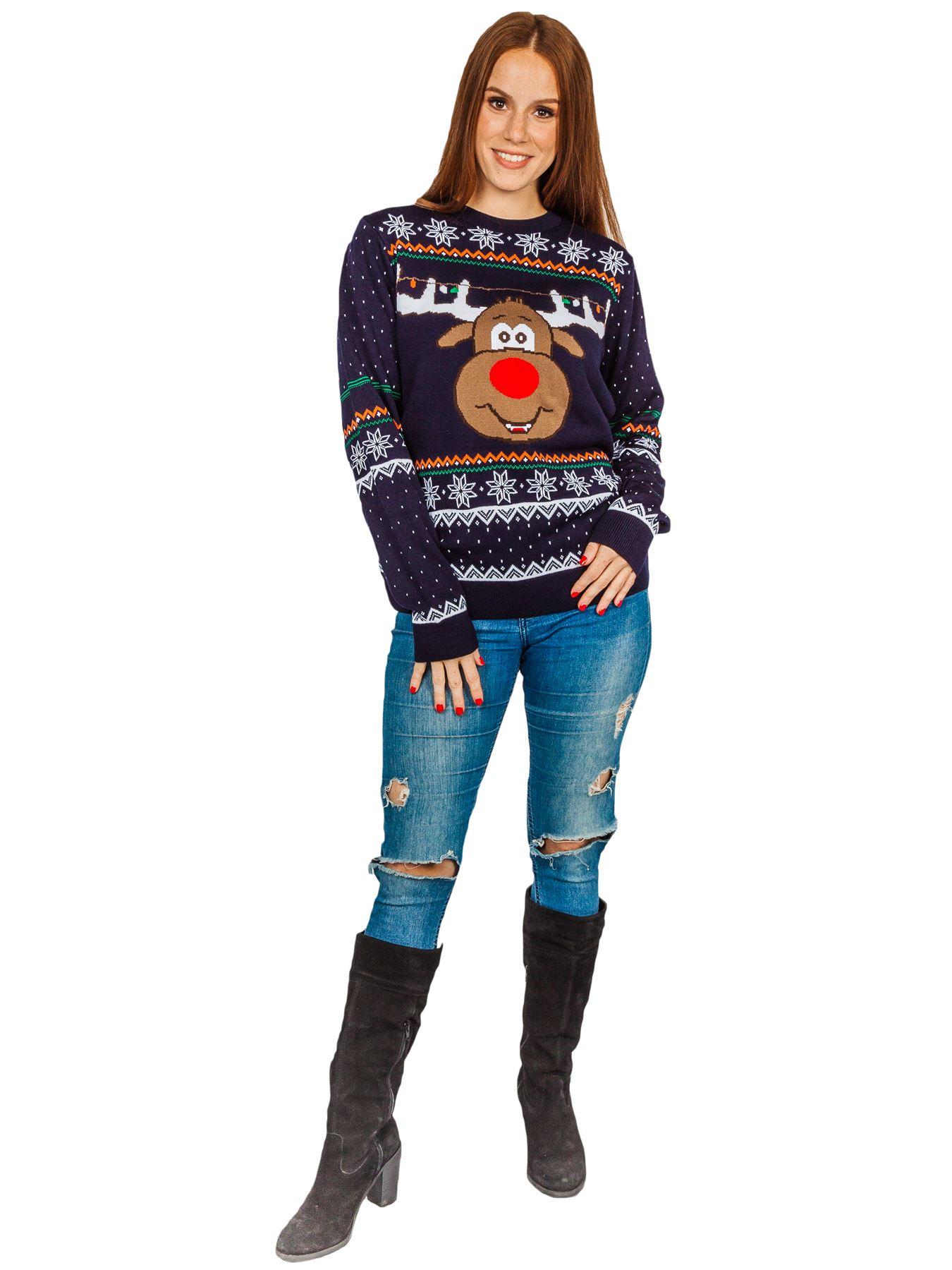 Unisex-Christmas-Jumper-Girls-Boys-Reindeer-Snow-Flake-Knitted-Pullover-Sweater thumbnail 4