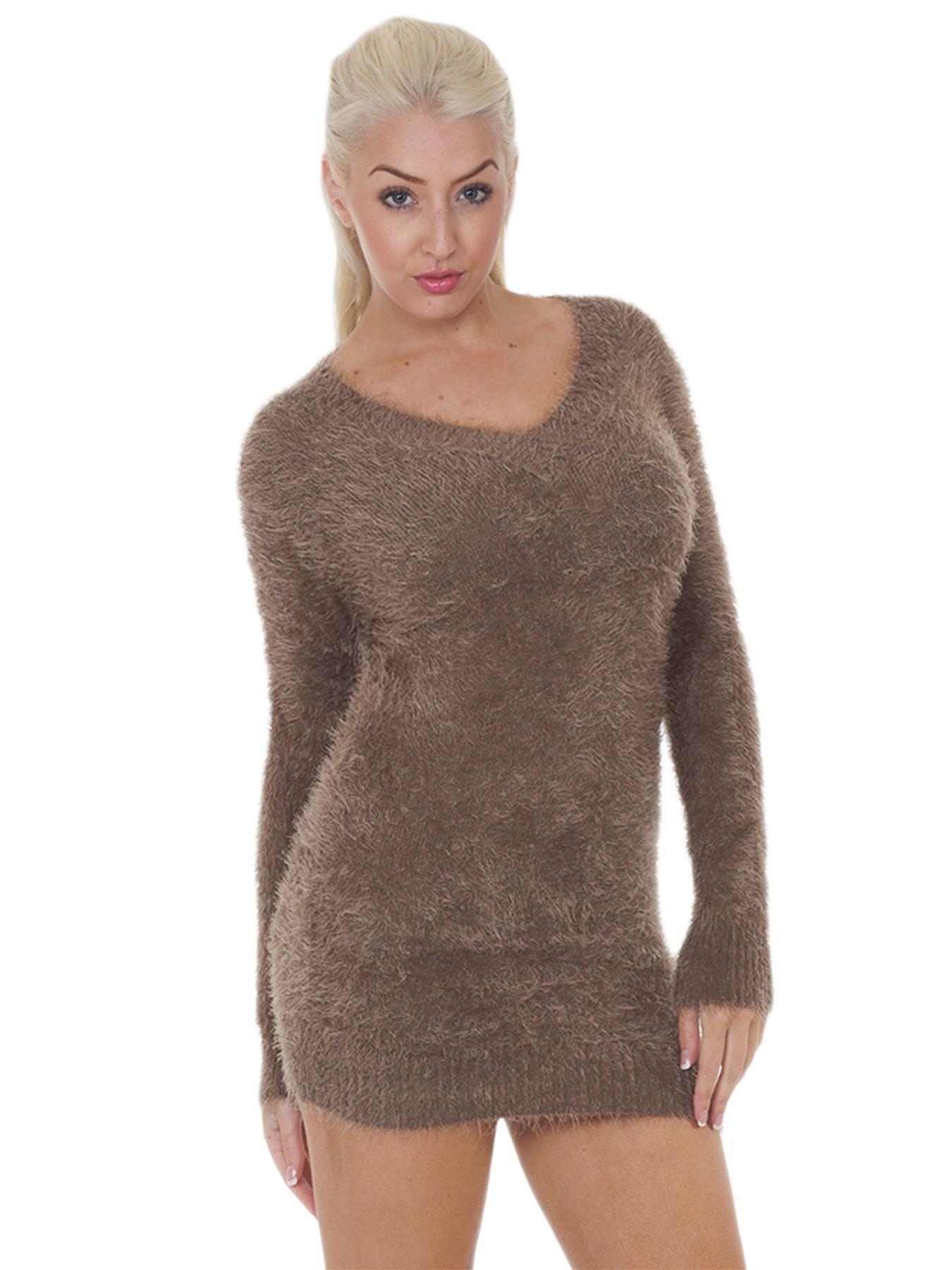 Pull-Femme-Femmes-Tricote-Cardigans-Plain-Tricot-Moelleux-Col-V-Manches-Longues miniature 20