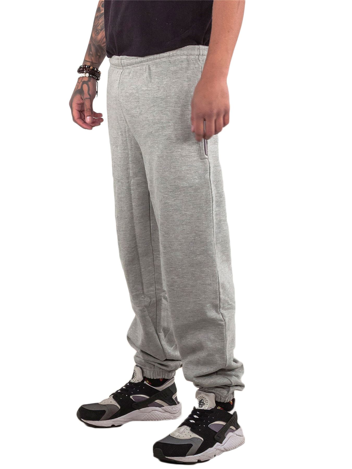 Mens-Fleece-Ribbed-Joggers-Tracksuit-Jogging-Bottom-Loose-Fit-Sweat-Pants-S-5XL thumbnail 7