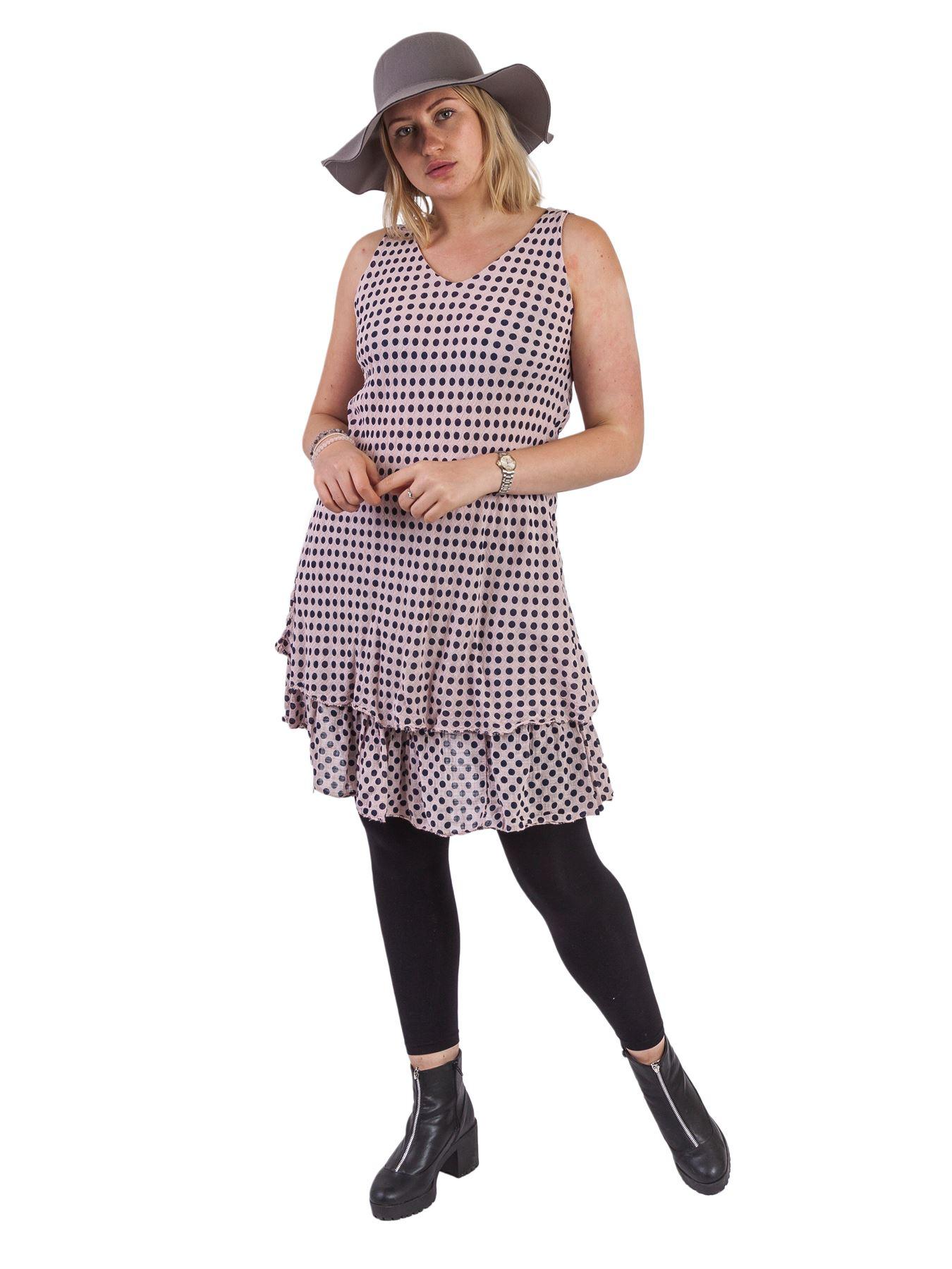 Damen Gepunktet Print Italienisch Mode Lagenlook Sommer ...