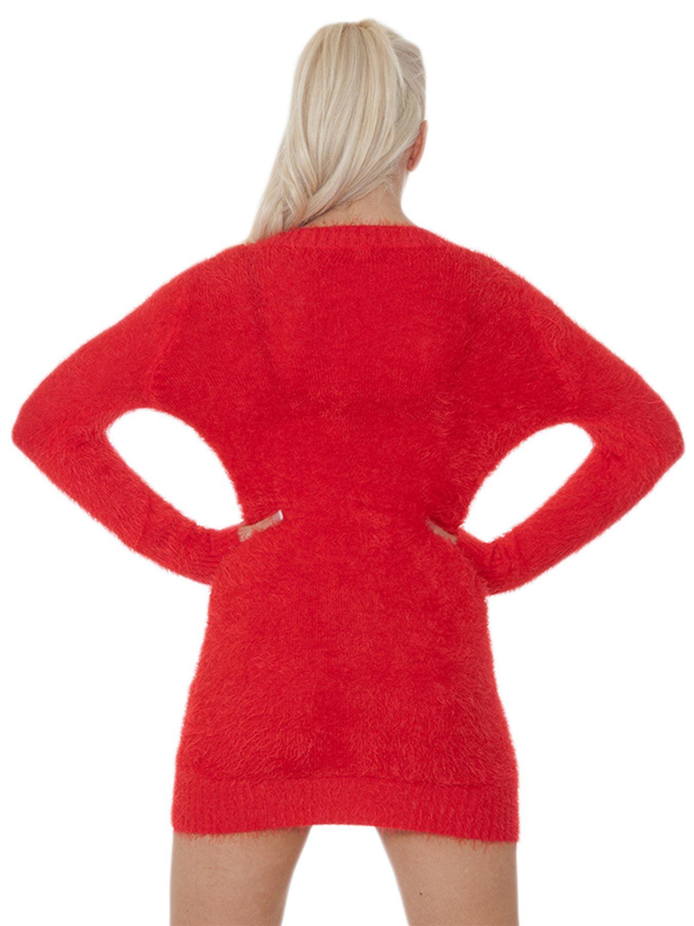 Pull-Femme-Femmes-Tricote-Cardigans-Plain-Tricot-Moelleux-Col-V-Manches-Longues miniature 30