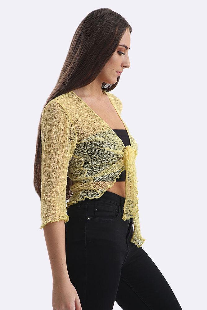 Femme Avant Cropped Tie Up SHRUG haut femme à manches longues Bolero Cardigan shirt