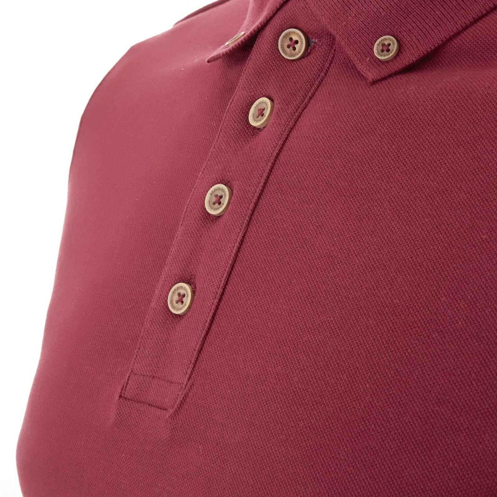 Homme-Polo-Brave-Soul-Lincoln-a-Manches-Longues-A-Col-Coton-Pique-Haut-Decontracte-Chemise miniature 4