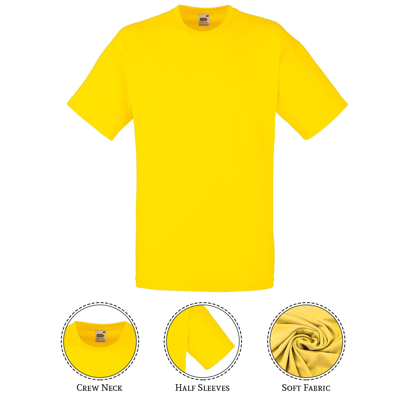 thumbnail 47 - Men-s-Fruit-Of-The-Loom-T-Shirt-Original-100-Cotton-Casual-Plain-Top-Tee