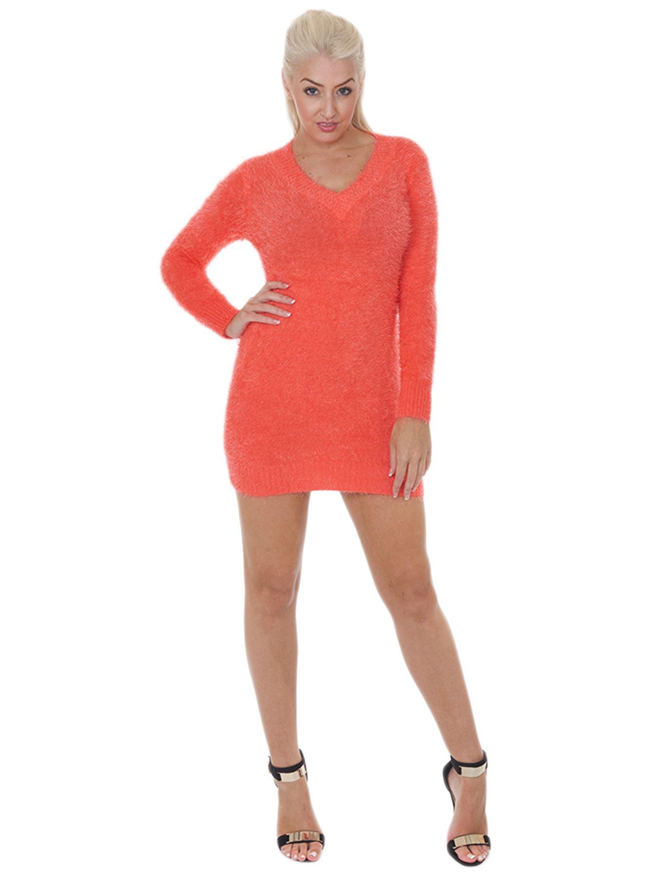 Pull-Femme-Femmes-Tricote-Cardigans-Plain-Tricot-Moelleux-Col-V-Manches-Longues miniature 13