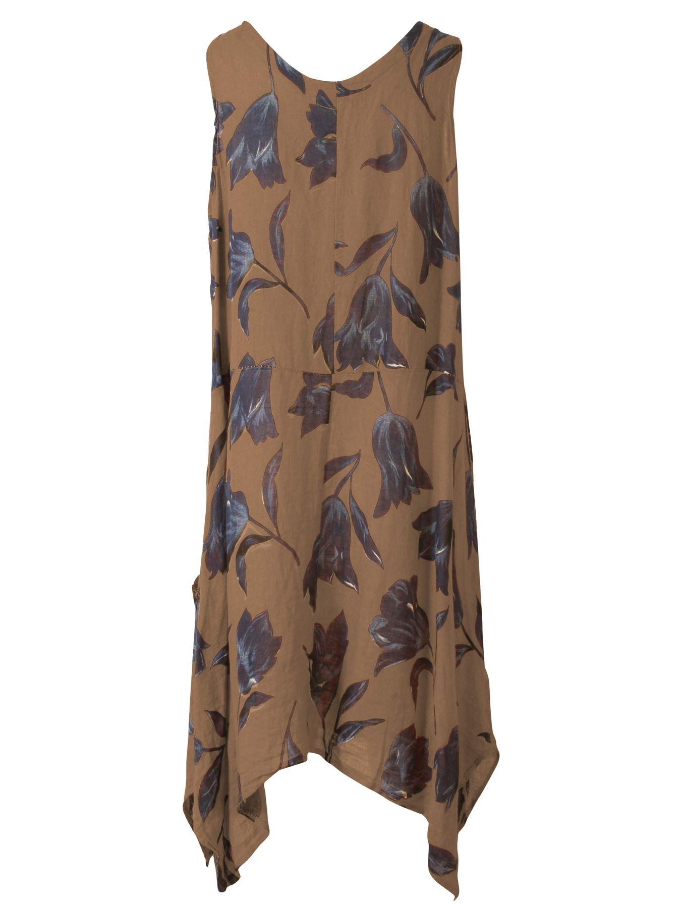 Womens-Tulip-Floral-Print-Italian-Lagenlook-Ladies-Linen-Dress-Two-Button-V-Neck thumbnail 15