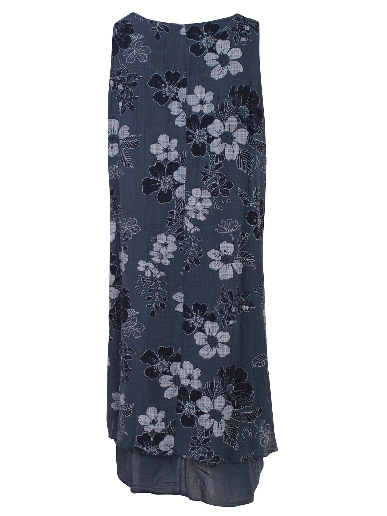 Womens-Floral-Print-Italian-Fashion-Lagenlook-Summer-Cotton-Crew-Neck-Dress thumbnail 12