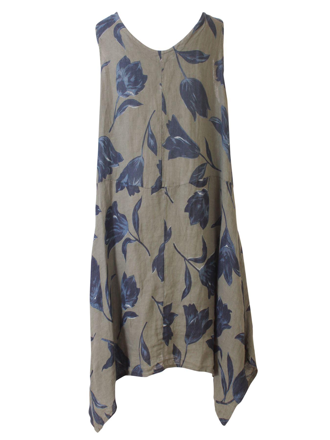 Womens-Tulip-Floral-Print-Italian-Lagenlook-Ladies-Linen-Dress-Two-Button-V-Neck thumbnail 11