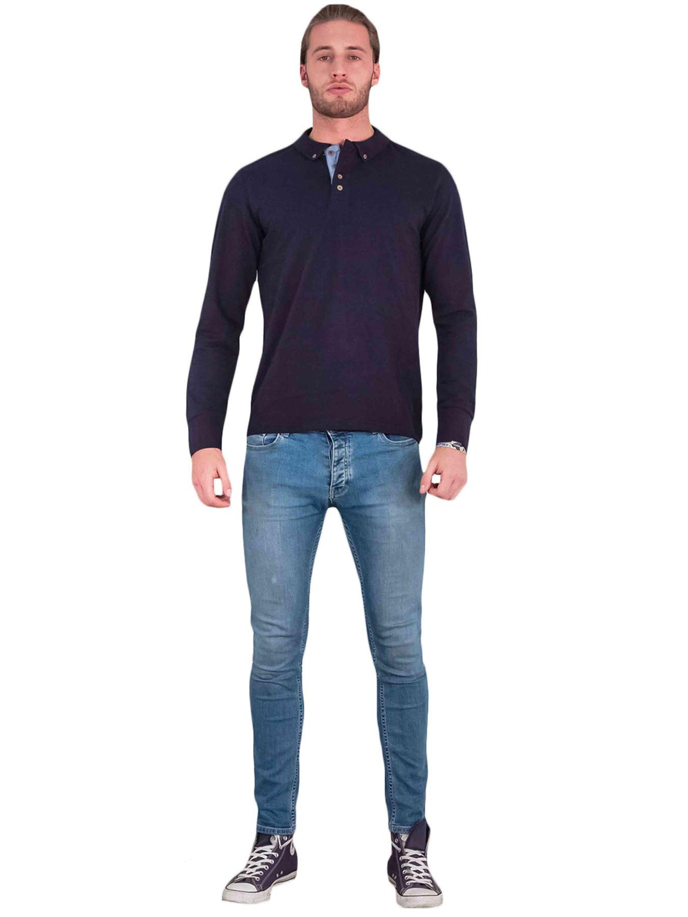 Homme-Polo-Brave-Soul-Lincoln-a-Manches-Longues-A-Col-Coton-Pique-Haut-Decontracte-Chemise miniature 9