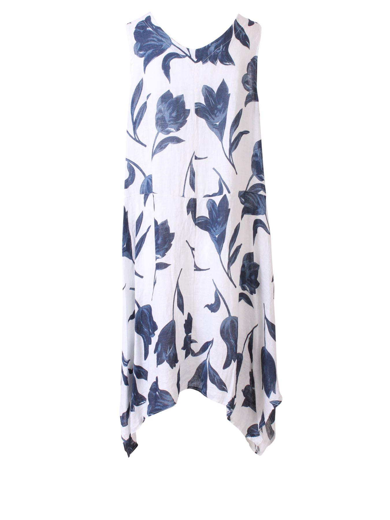 Womens-Tulip-Floral-Print-Italian-Lagenlook-Ladies-Linen-Dress-Two-Button-V-Neck thumbnail 23