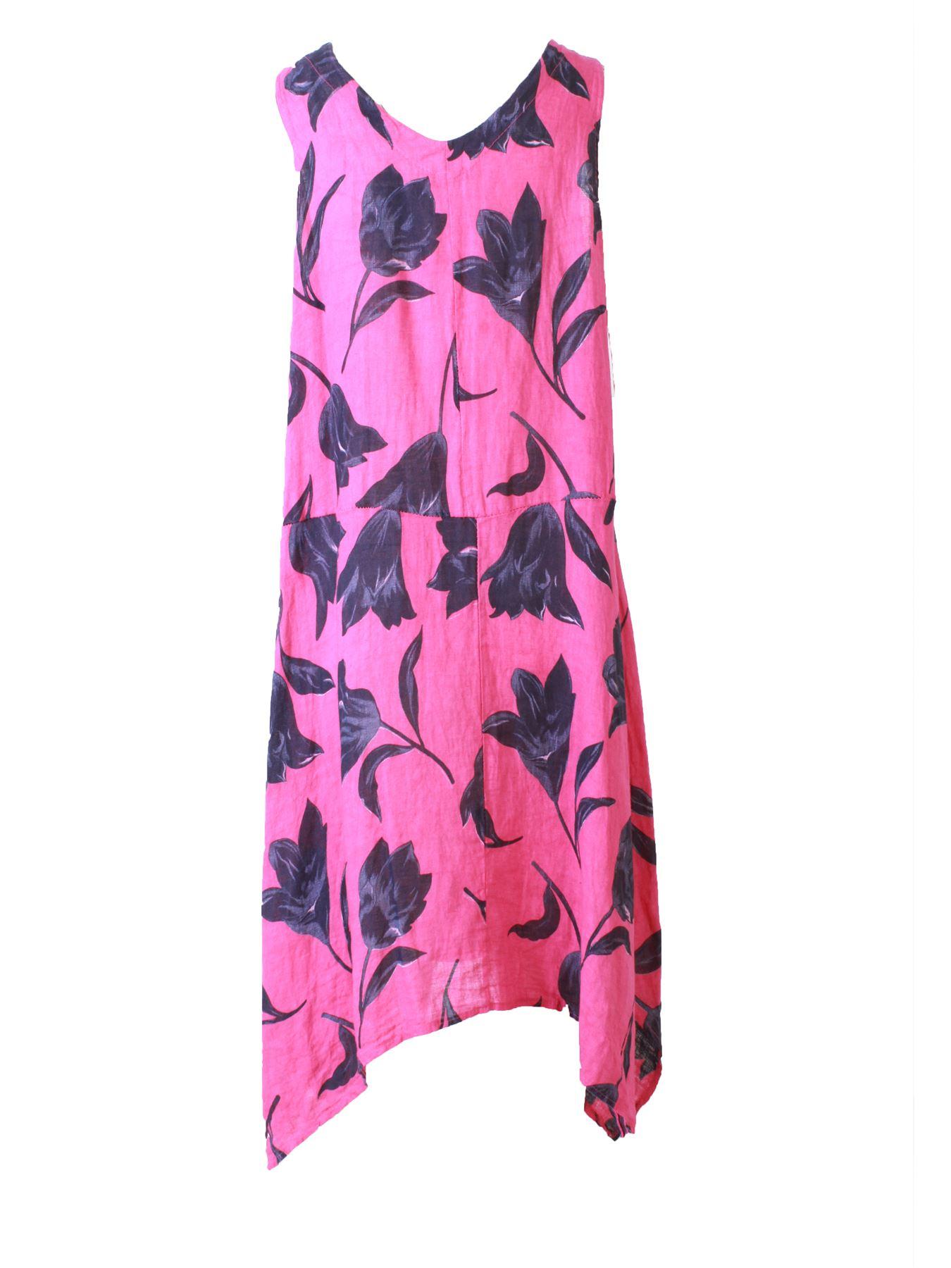 Womens-Tulip-Floral-Print-Italian-Lagenlook-Ladies-Linen-Dress-Two-Button-V-Neck thumbnail 9