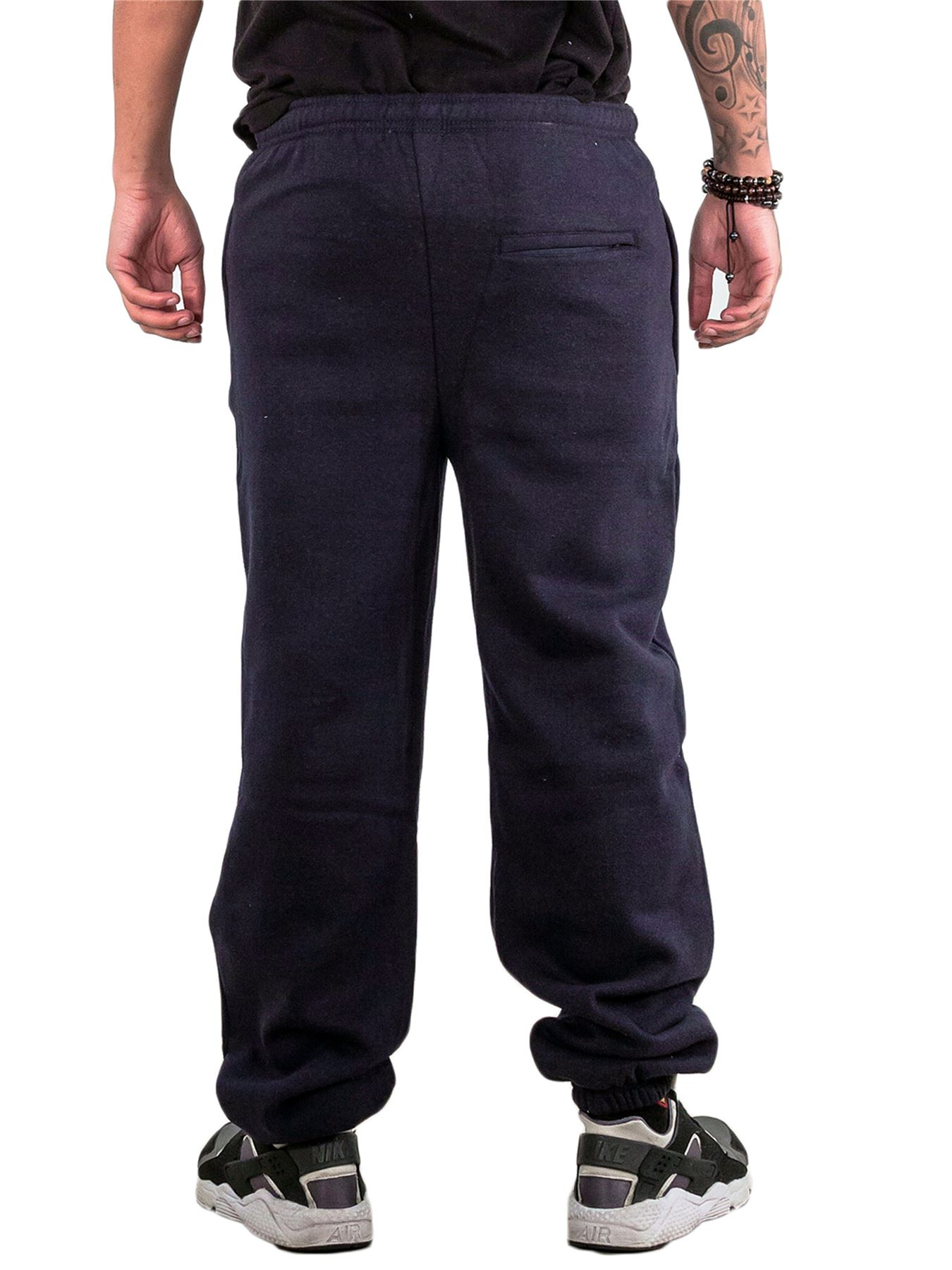Mens-Fleece-Ribbed-Joggers-Tracksuit-Jogging-Bottom-Loose-Fit-Sweat-Pants-S-5XL thumbnail 11