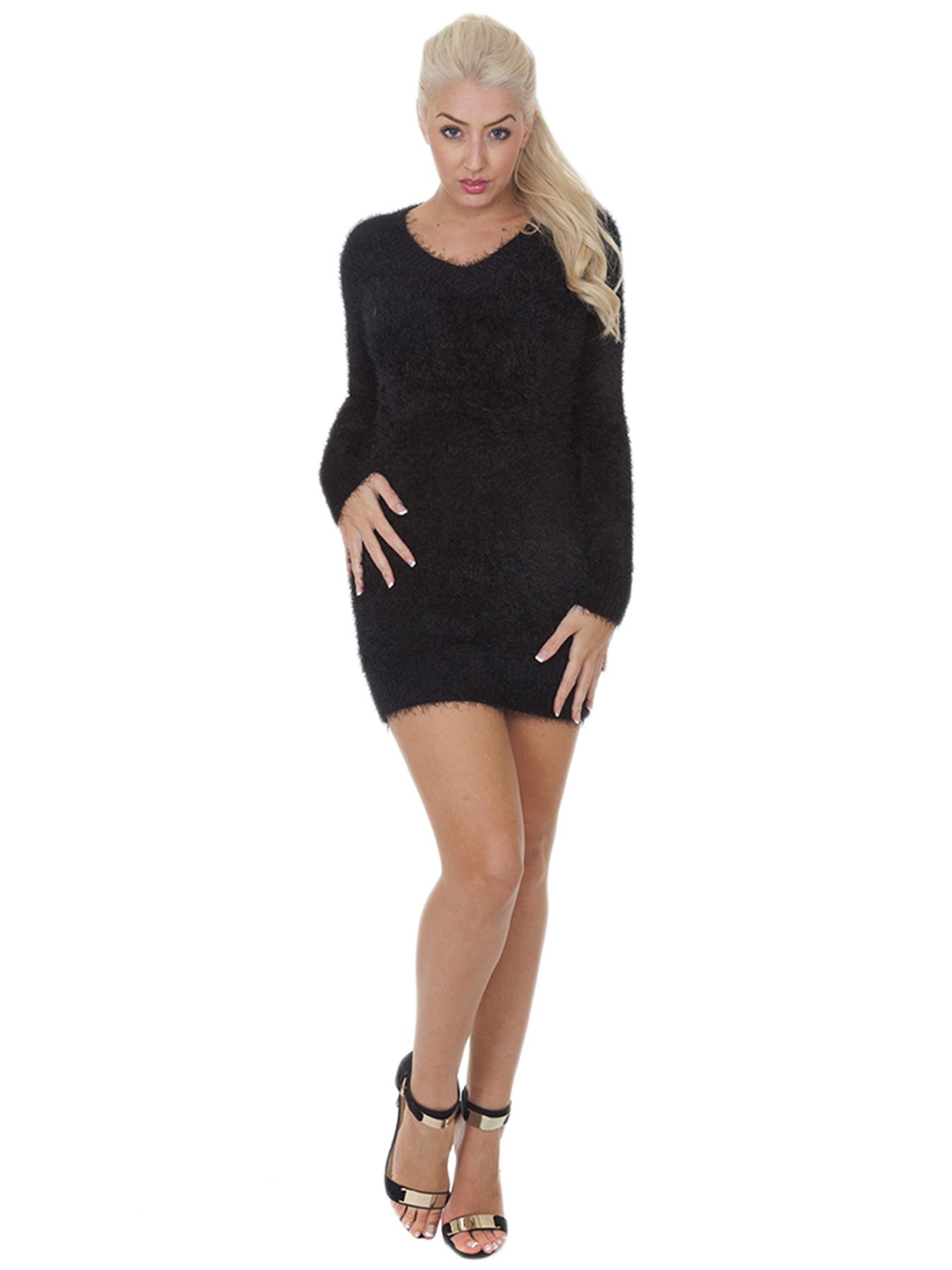 Pull-Femme-Femmes-Tricote-Cardigans-Plain-Tricot-Moelleux-Col-V-Manches-Longues miniature 9