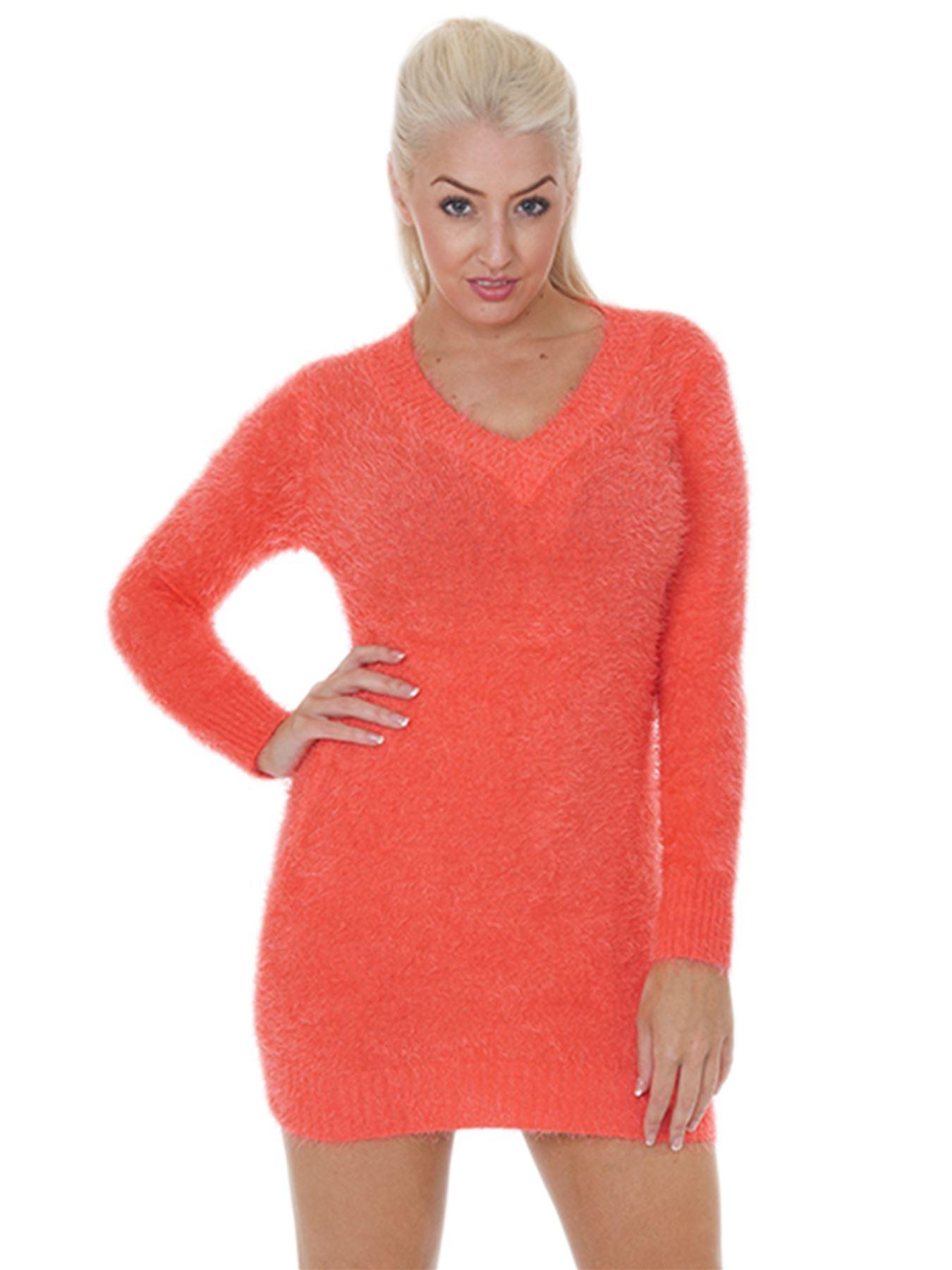 Pull-Femme-Femmes-Tricote-Cardigans-Plain-Tricot-Moelleux-Col-V-Manches-Longues miniature 11