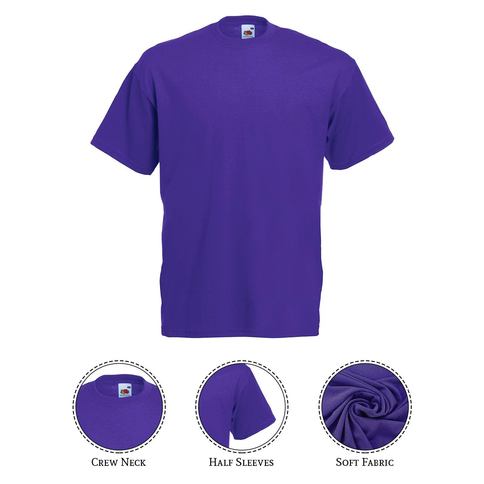 thumbnail 33 - Men-s-Fruit-Of-The-Loom-T-Shirt-Original-100-Cotton-Casual-Plain-Top-Tee